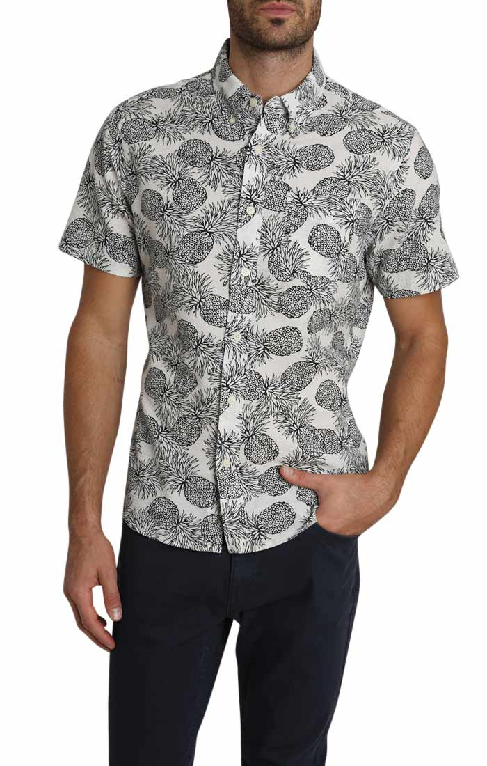 Pineapple Print Seersucker Short Sleeve Shirt - jachs