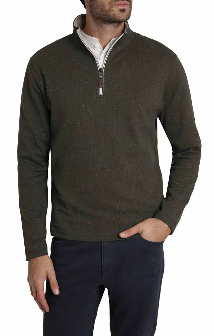 Green Donegal Stretch Quarter Zip Pullover