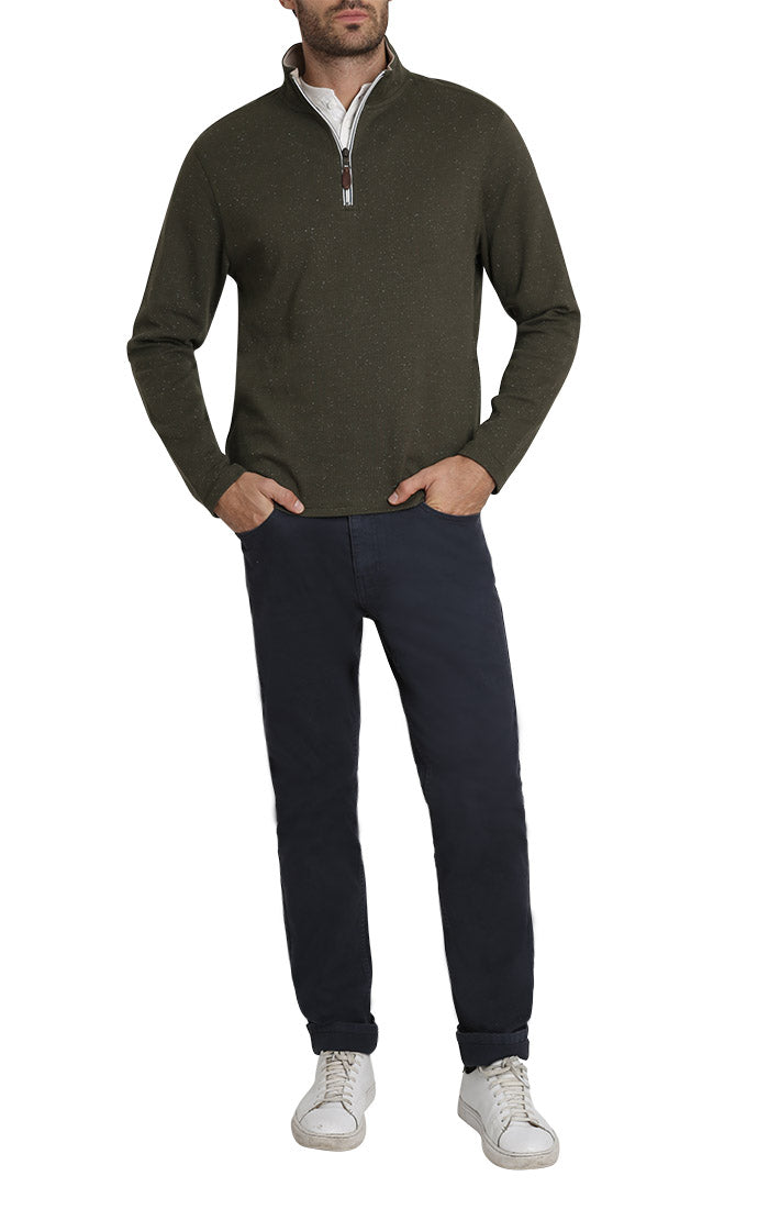 Green Donegal Stretch Quarter Zip Pullover - JACHS NY