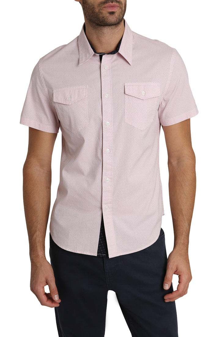 Pink Geo Print Short Sleeve Tech Shirt - jachs