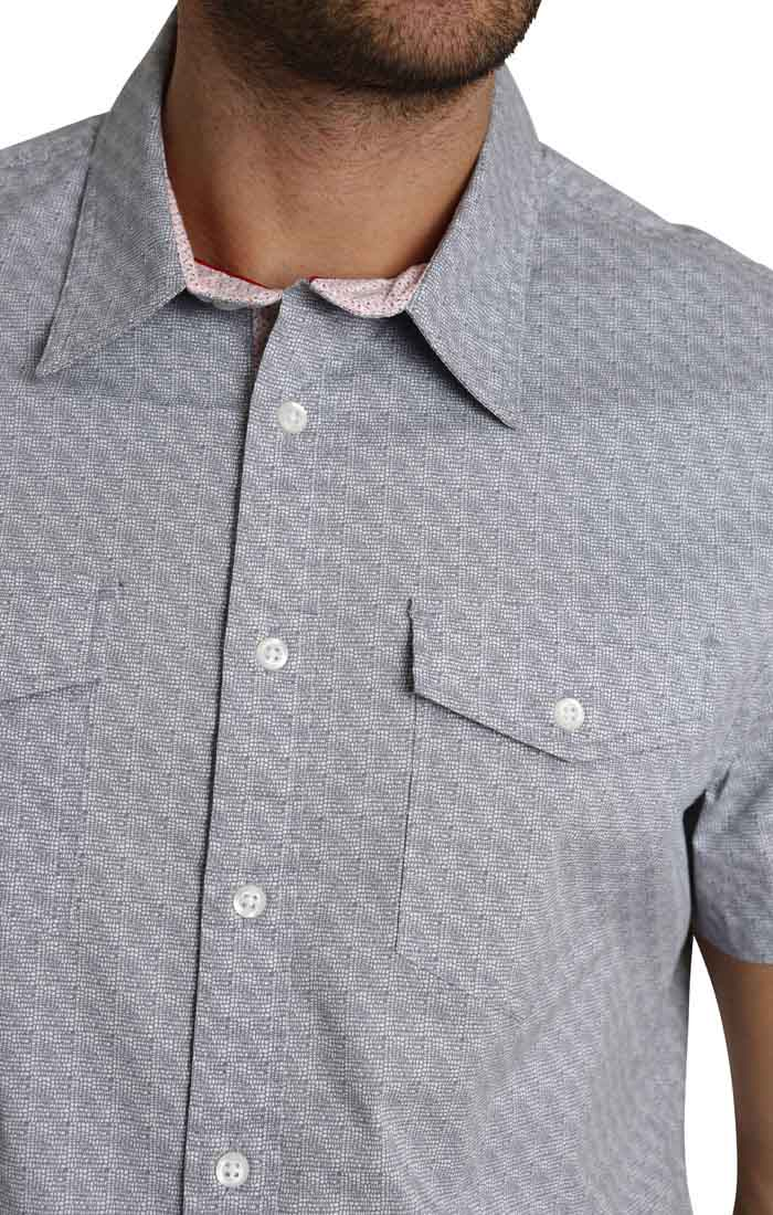 Grey Micro Block Print Short Sleeve Tech Shirt - JACHS NY