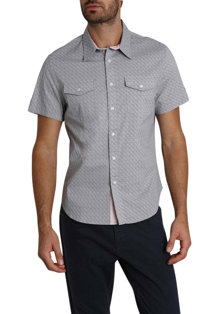 Grey Micro Block Print Short Sleeve Tech Shirt - jachs