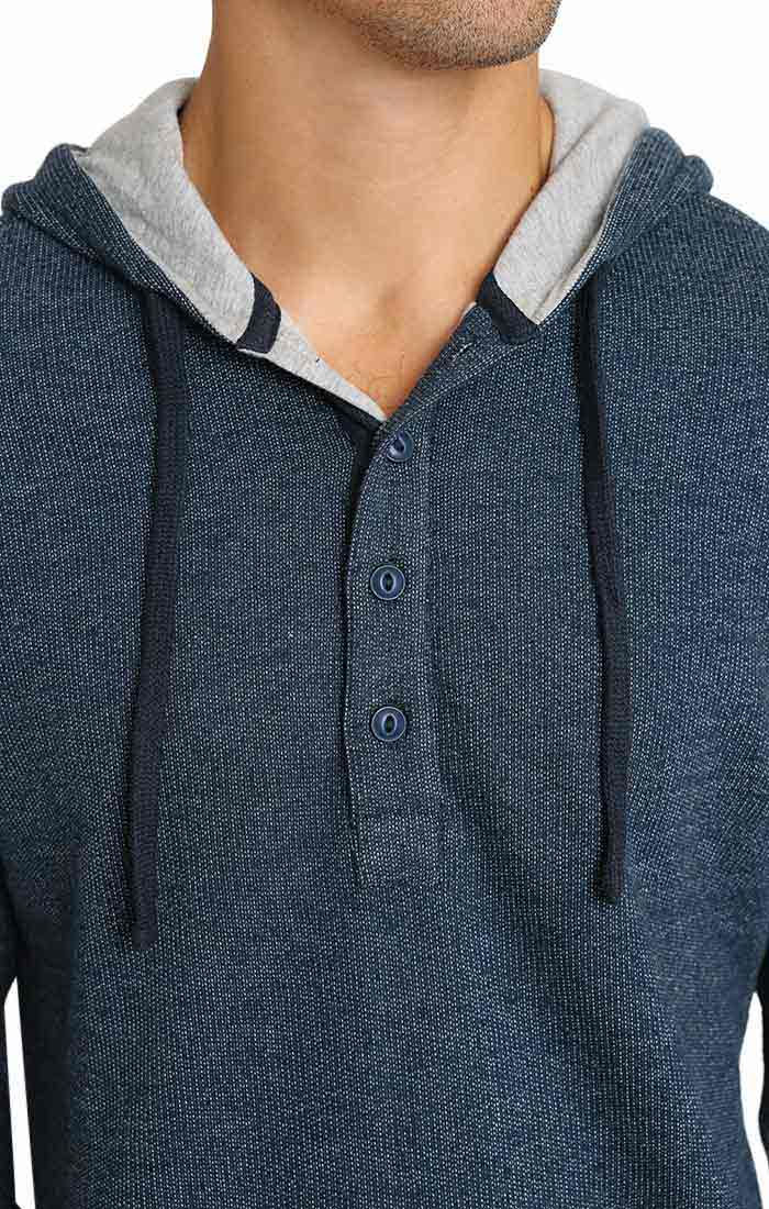 Navy Marled Fleece Hooded Henley - jachs