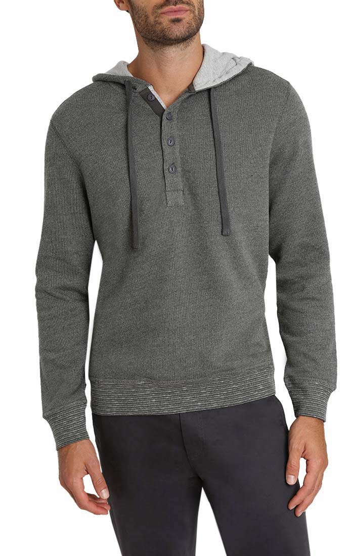 Charcoal Marled Fleece Hooded Henley - jachs