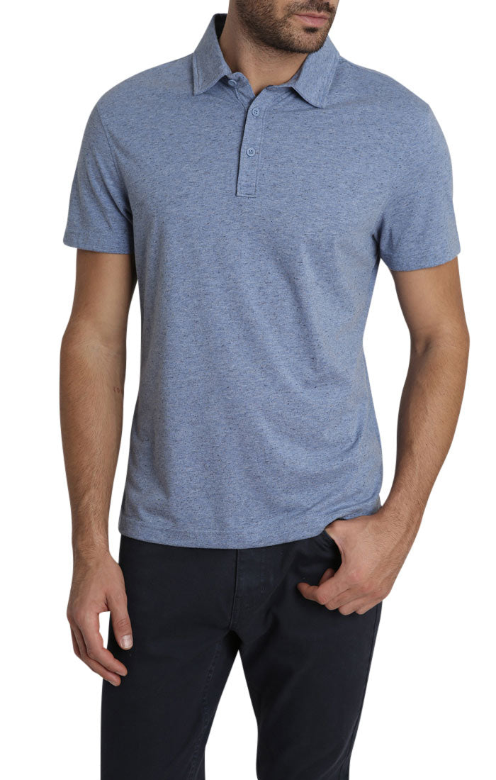 Blue Heathered Linen TriBlend Polo - JACHS NY