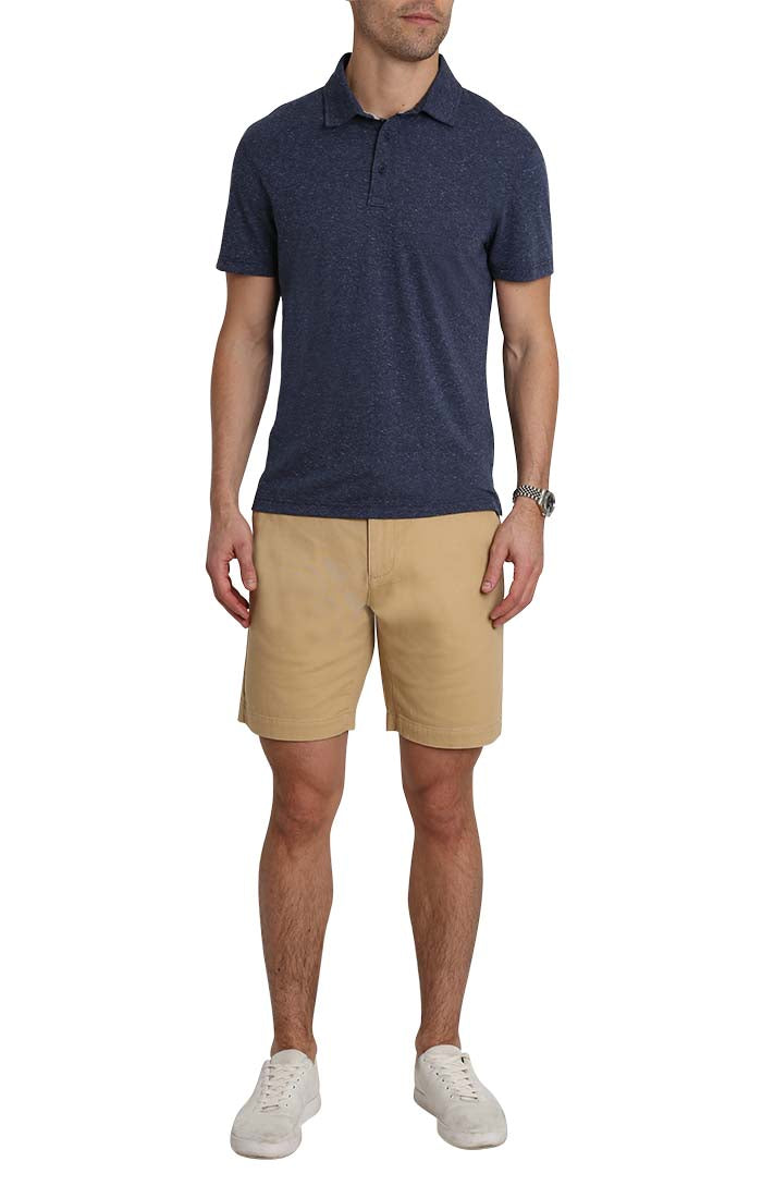 Navy Heathered Linen TriBlend Polo - JACHS NY