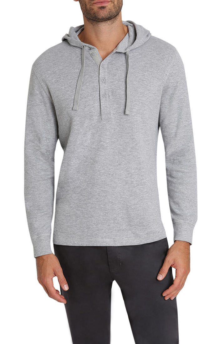 Light Heather Grey Waffle Hooded Henley