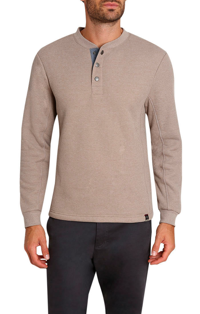 Stone Waffle Sherpa Lined Henley