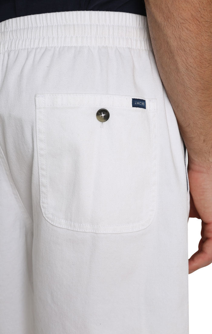 White Stretch Twill Pull On Dock Short - jachs