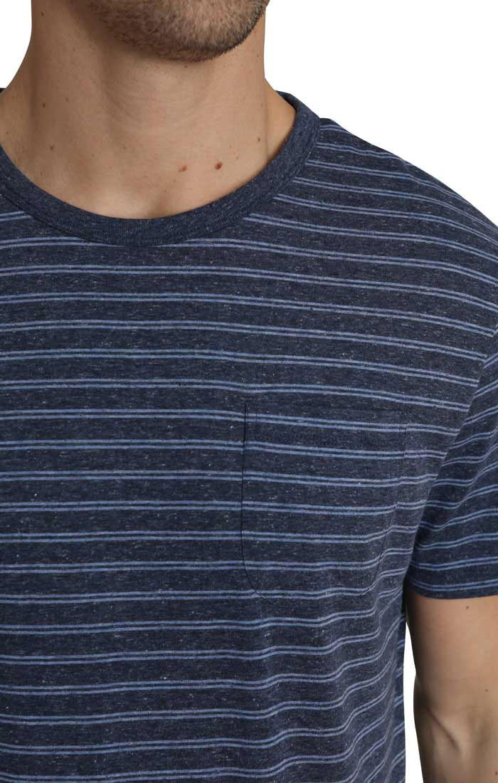 Navy Striped Linen TriBlend Tee - JACHS NY