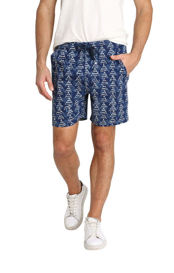 Indigo Printed Stretch Twill Pull On Dock Short
