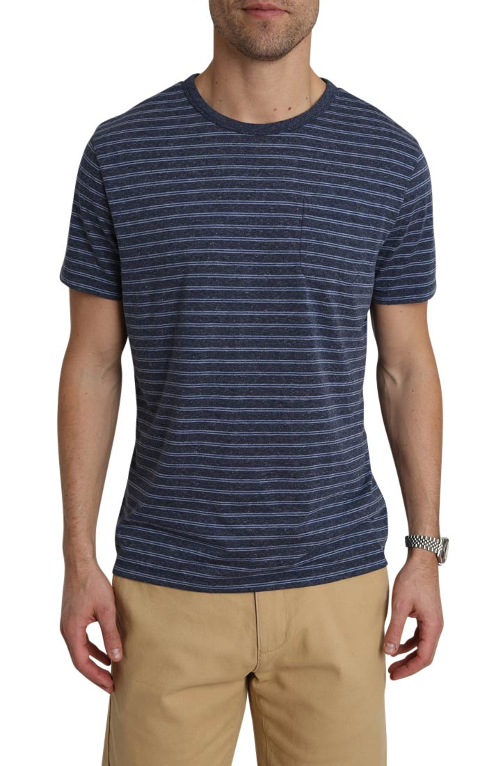 Navy Striped Linen TriBlend Tee - jachs