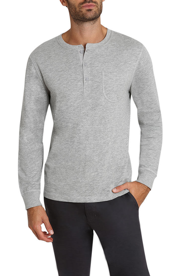 Light Heather Grey Slub Cotton Long Sleeve Henley - jachs