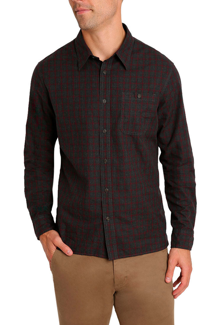 Charcoal Micro Plaid Brushed Flannel Shirt - jachs