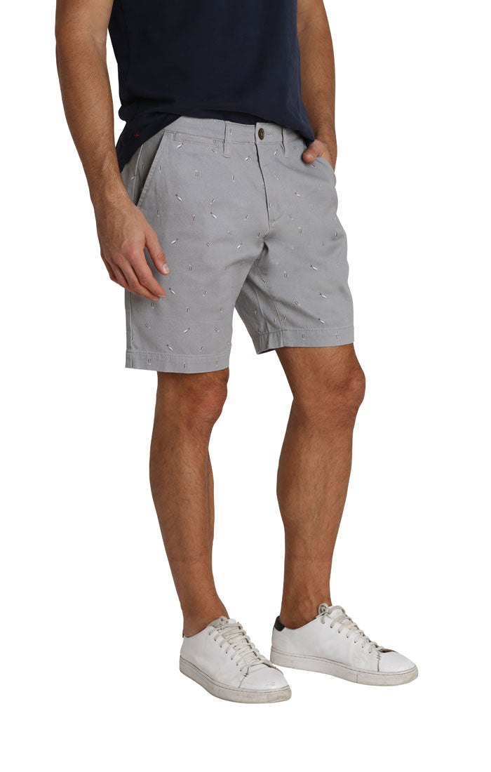 Grey Fish Lure Stretch Chino Short - jachs