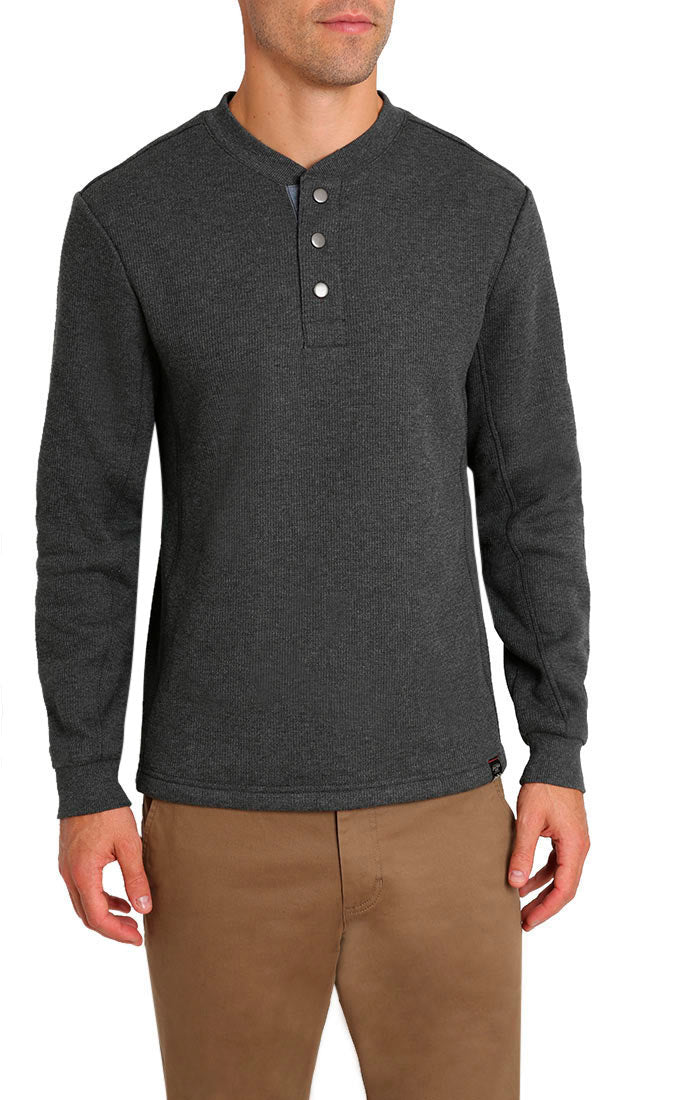 Charcoal Waffle Sherpa Lined Henley - jachs