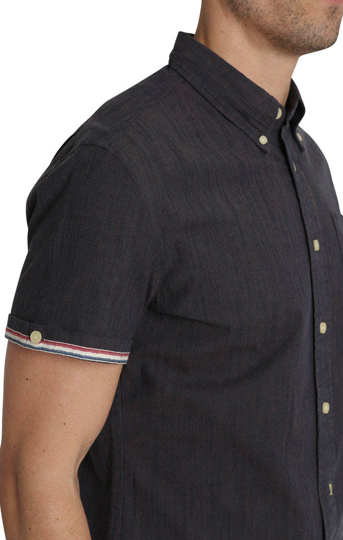 Dark Indigo Stretch Slub Chambray Short Sleeve Shirt - jachs