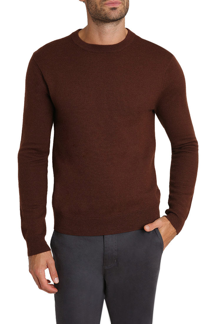 Brown Merino Wool Elbow Patch Crewneck