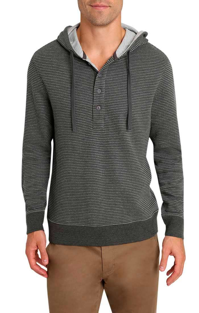 Charcoal Striped Fleece Hooded Henley - jachs