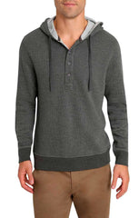 Charcoal Striped Fleece Hooded Henley