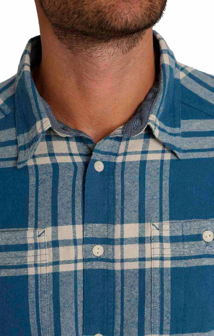 Blue and White Plaid Flannel Shirt