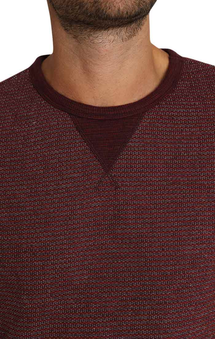 Burgundy Striped Fleece Crewneck Sweatshirt