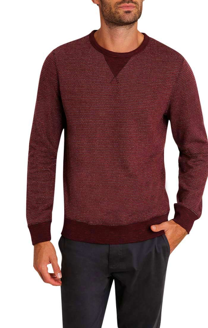 Burgundy Striped Fleece Crewneck Sweatshirt - jachs