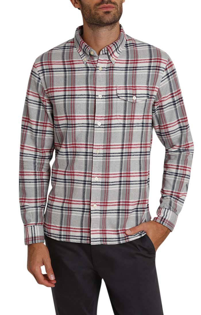 Light Grey Plaid Flannel Shirt