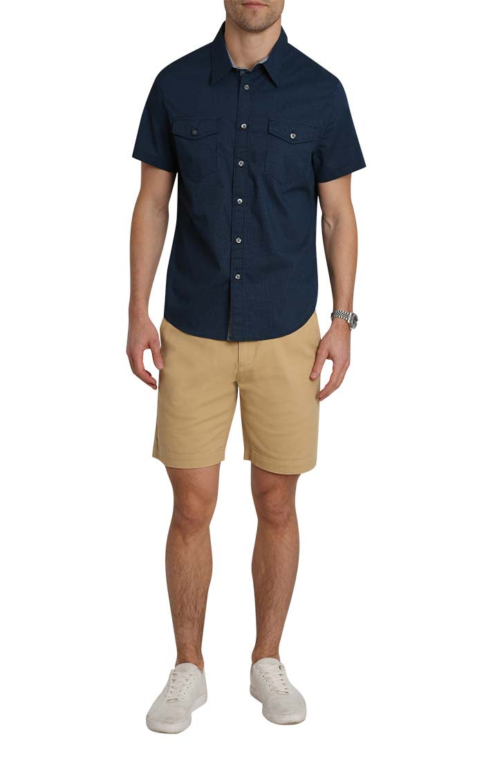 Navy Micro Dot Print Short Sleeve Tech Shirt - jachs