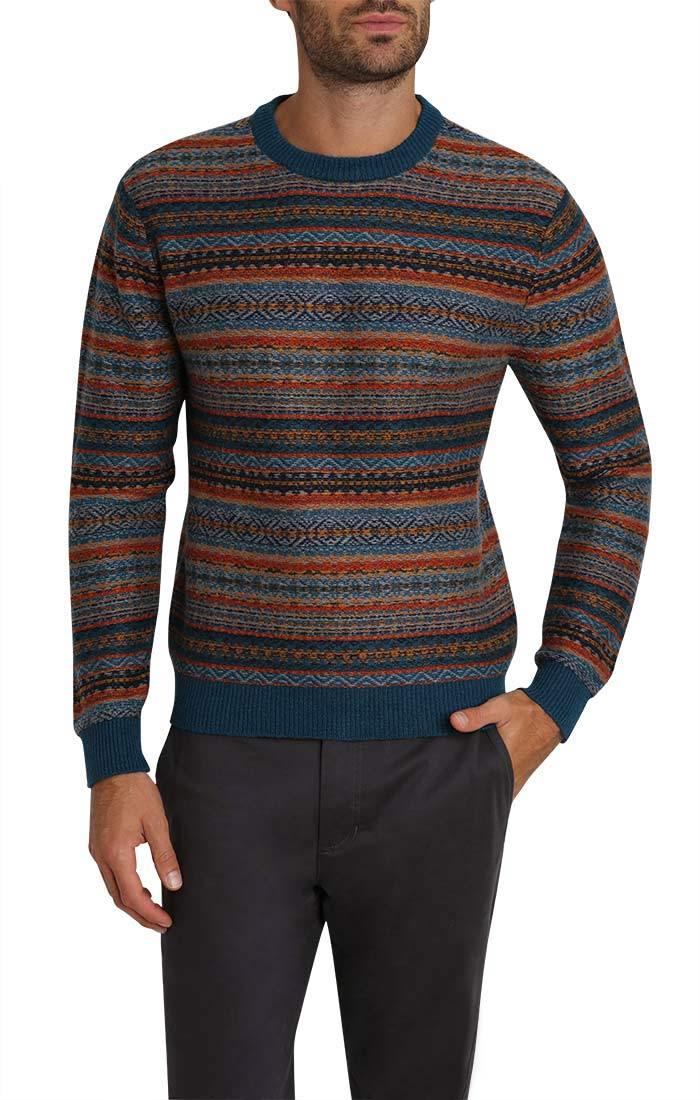 Blue Reverse Fair Isle Sweater - jachs