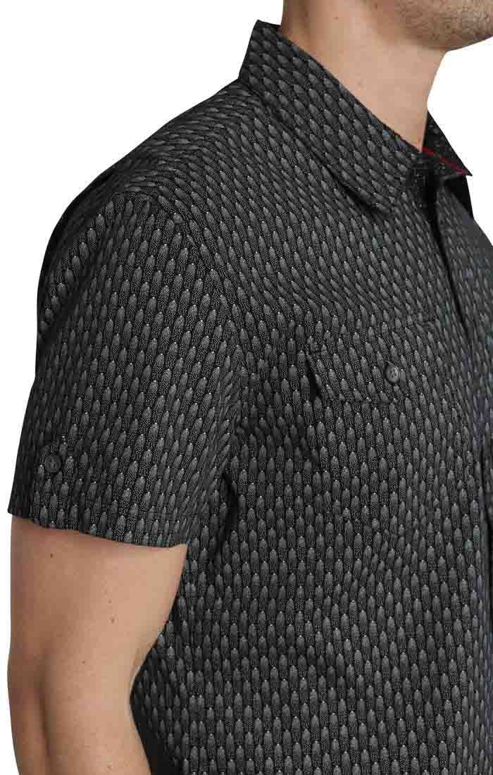 Black Scale Print Short Sleeve Tech Shirt - JACHS NY