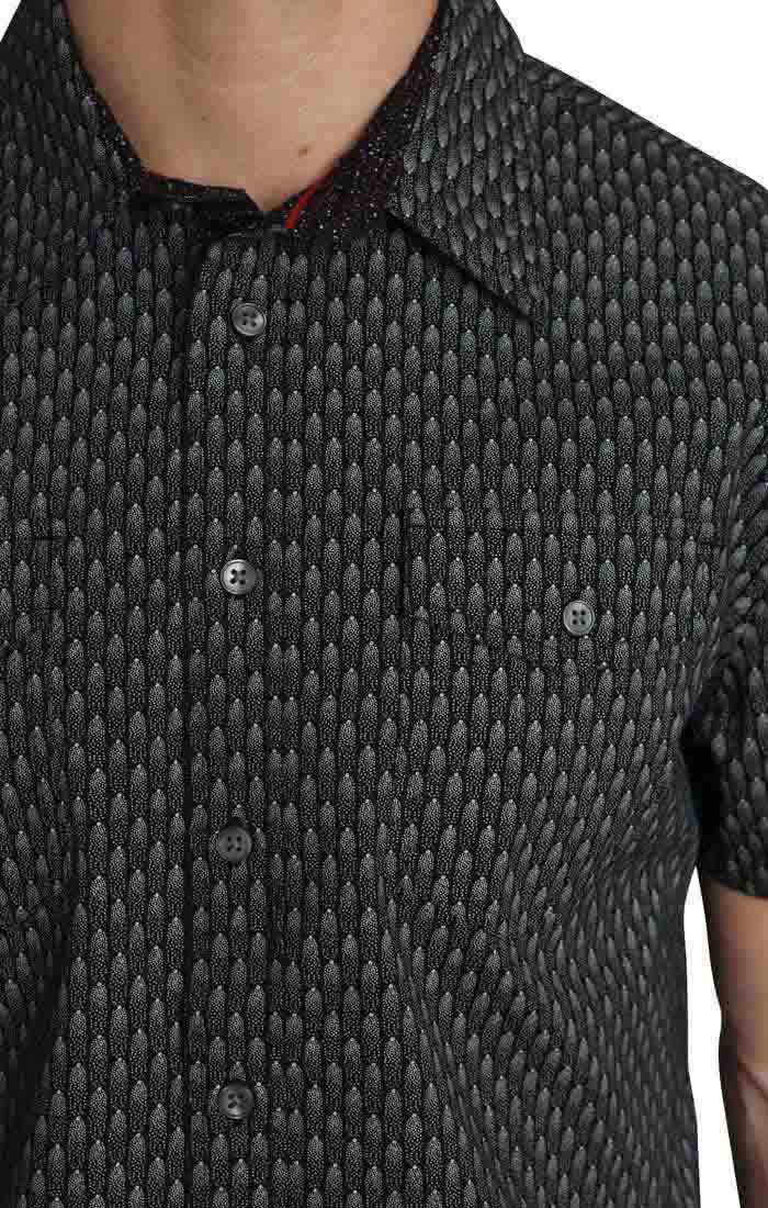 Black Scale Print Short Sleeve Tech Shirt - jachs