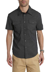 Black Scale Print Short Sleeve Tech Shirt