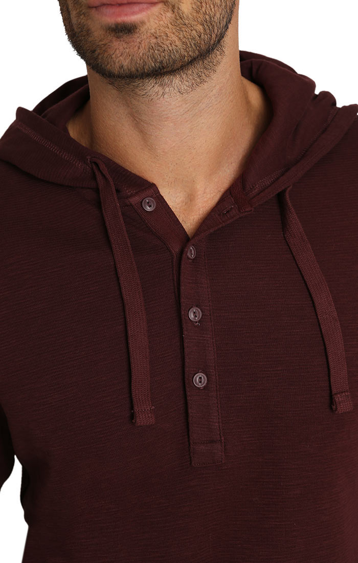 Shopping Bag Waffle Hooded Henley - jachs