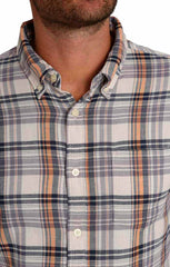 Ivory Plaid Stretch Double Face Shirt