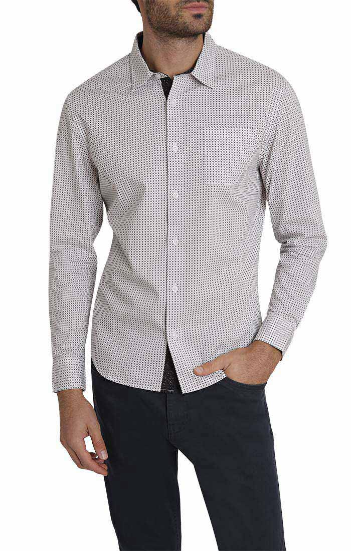 White Circle Print Long Sleeve Tech Shirt