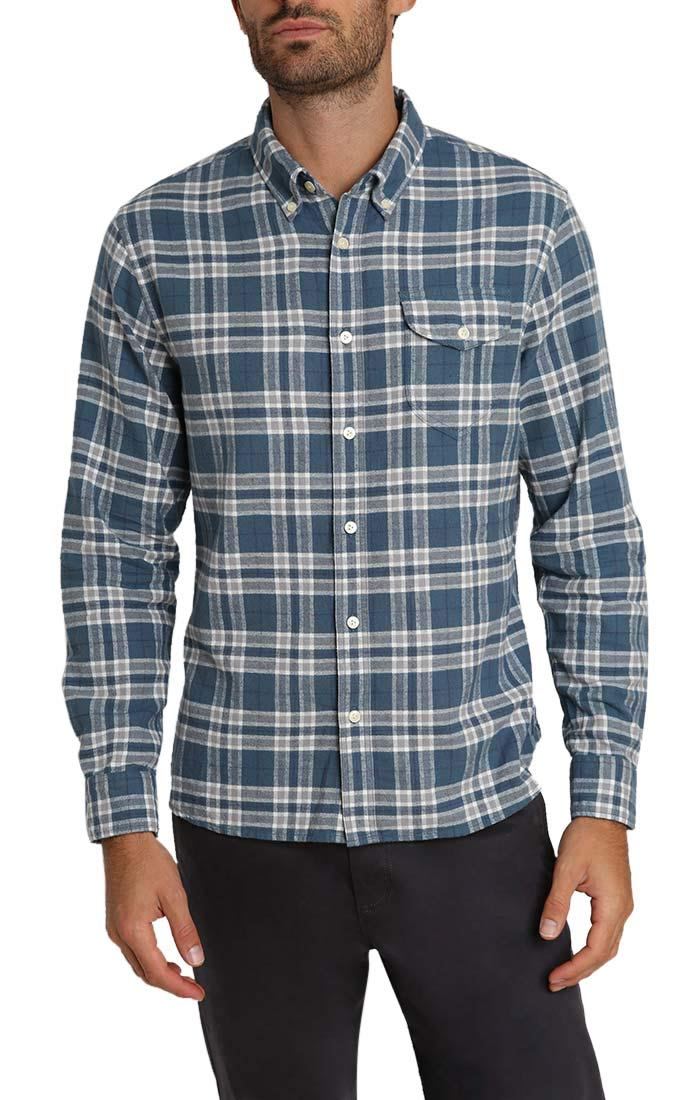 Blue Plaid Flannel Shirt - jachs