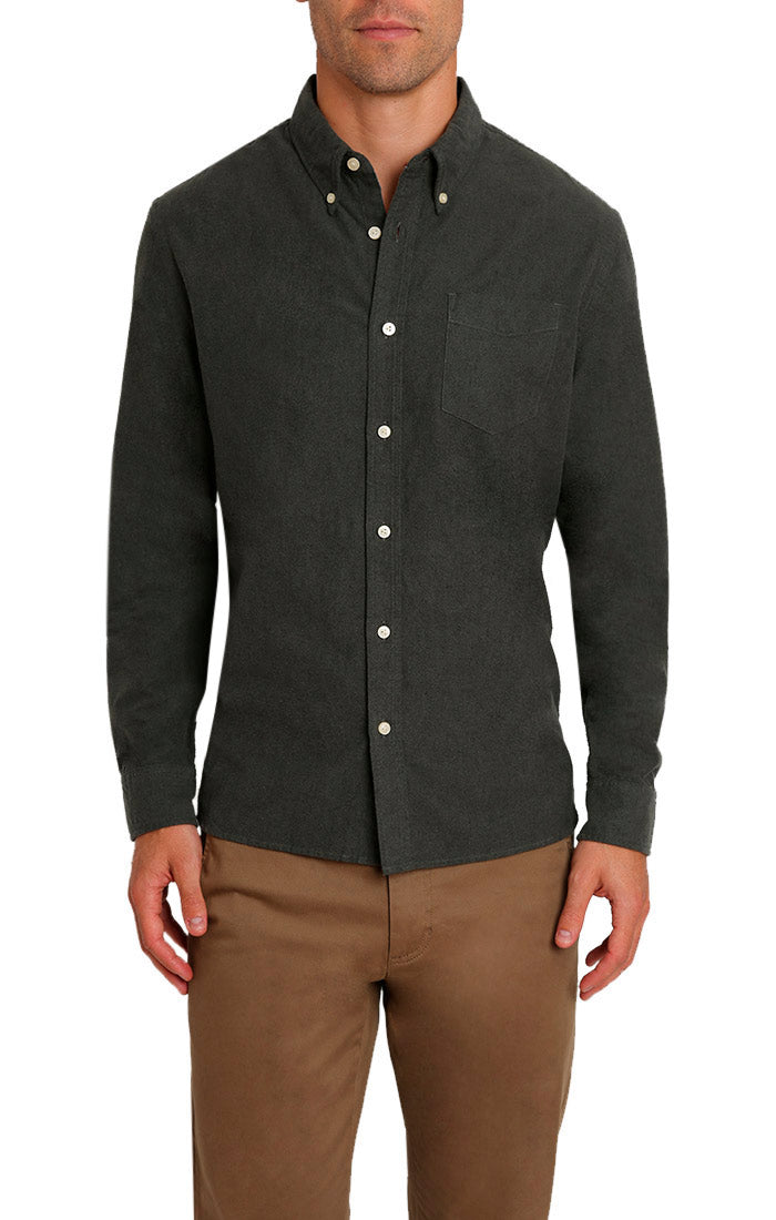 Forest Green Brushed Oxford Shirt