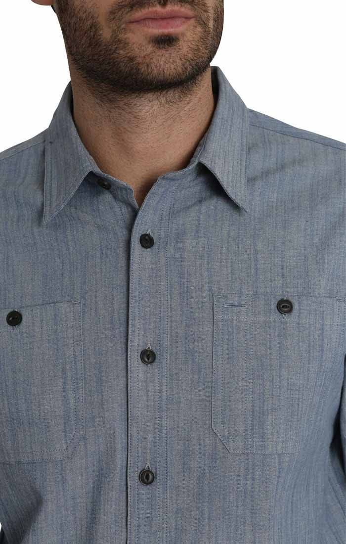 Blue Stretch Slub Chambray Shirt - jachs