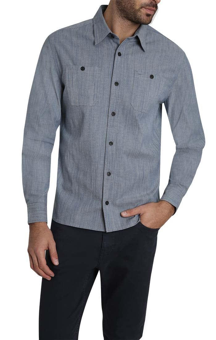 Blue Stretch Slub Chambray Shirt - JACHS NY