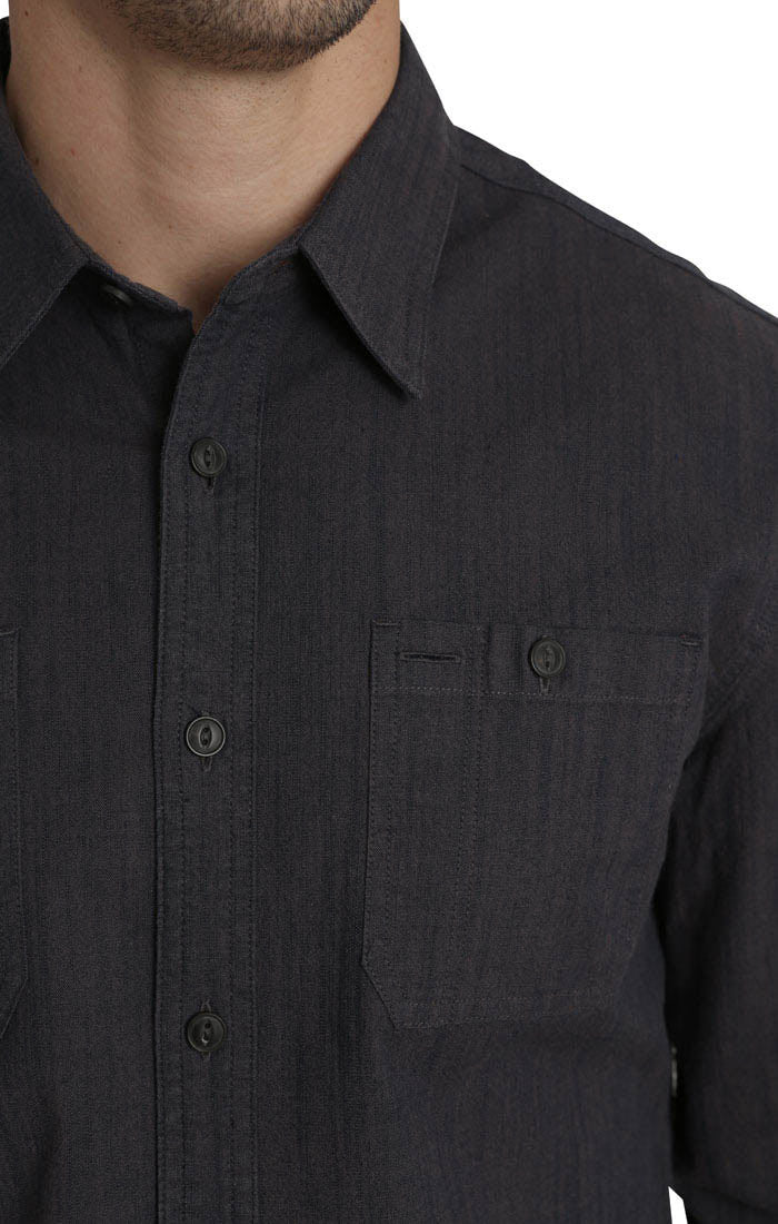 Dark Indigo Stretch Slub Chambray Shirt - jachs