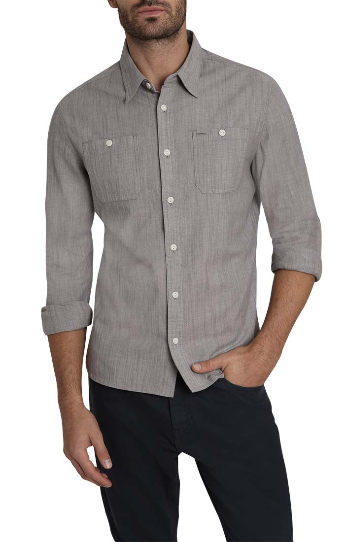 Grey Stretch Slub Chambray Shirt - jachs