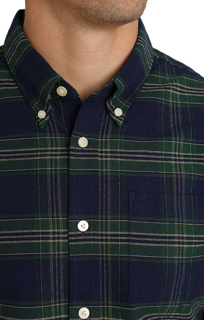 Green Plaid Brushed Oxford Shirt