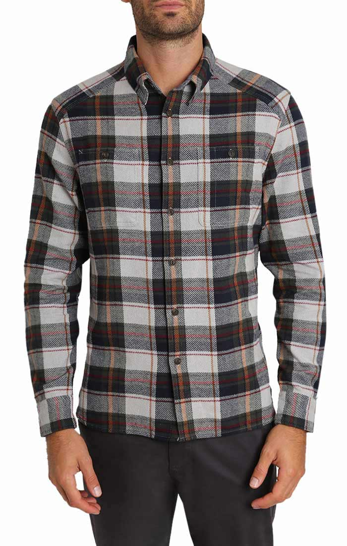 Grey Plaid Heavy Twill Flannel Shirt - jachs