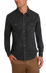 Black Denim Stretch Western Shirt - jachs