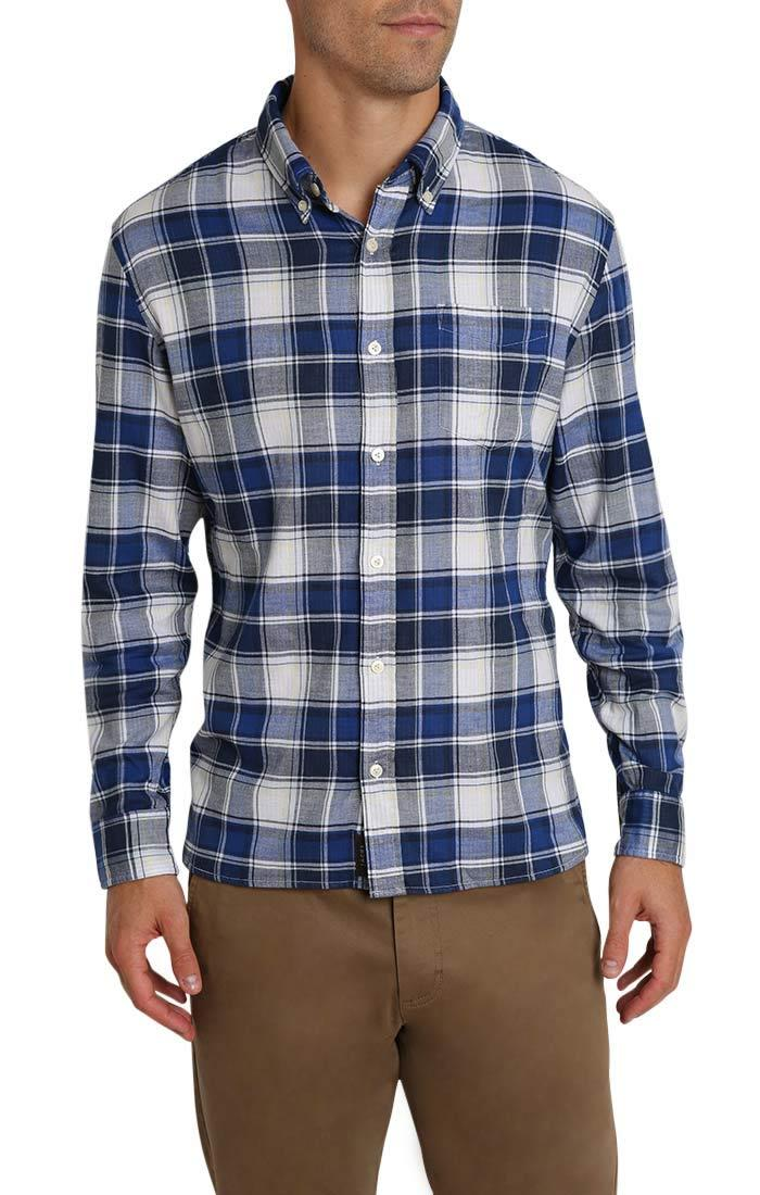 Blue Plaid Stretch Double Face Shirt - jachs