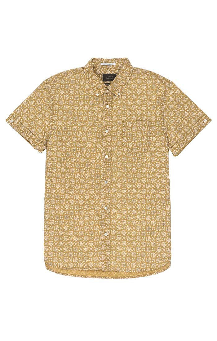 Gold Lotus Print Short Sleeve Shirt