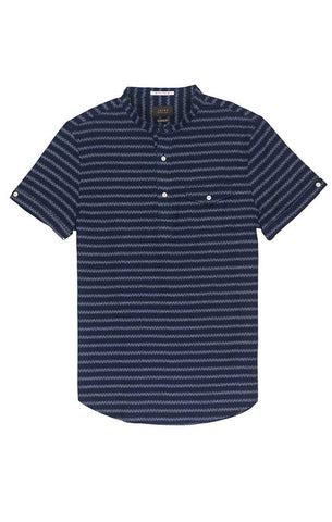 Indigo Engineered Striped Shirt