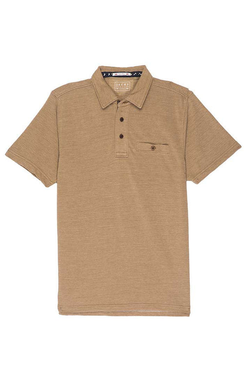 Tan Washed Pique Polo
