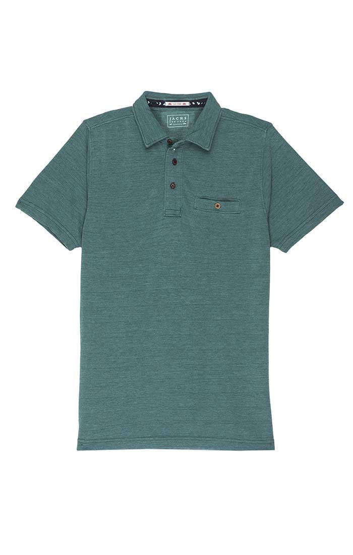 Green Washed Pique Polo